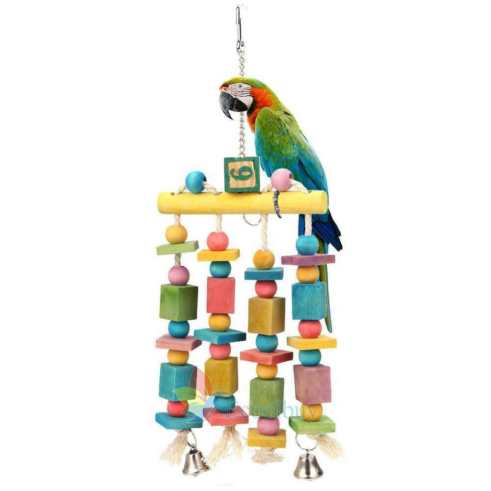 Toys For Bird : Colorful parrot pet bird macaw hanging chew toy bells wood
