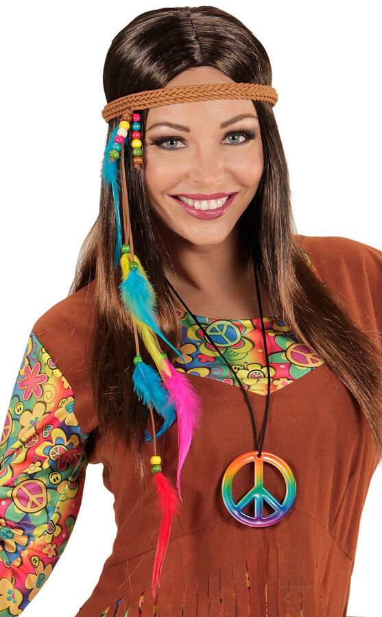 hippie haarband mit perlen und federn neu zubeh r accessoire karneval fasching ebay. Black Bedroom Furniture Sets. Home Design Ideas