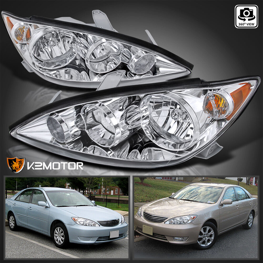 for 2005 2006 toyota camry crystal chrome replacement headlights left right ebay. Black Bedroom Furniture Sets. Home Design Ideas