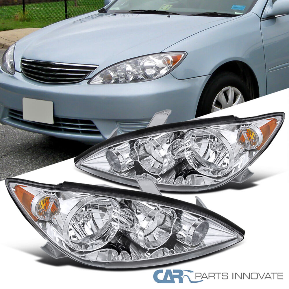 2005 2006 toyota camry base le se xle chrome clear jdm headlights amber corne. Black Bedroom Furniture Sets. Home Design Ideas