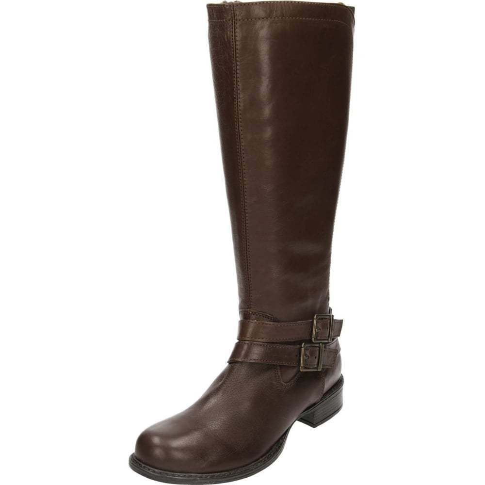 ladies brown real leather knee high flat stretchy boots
