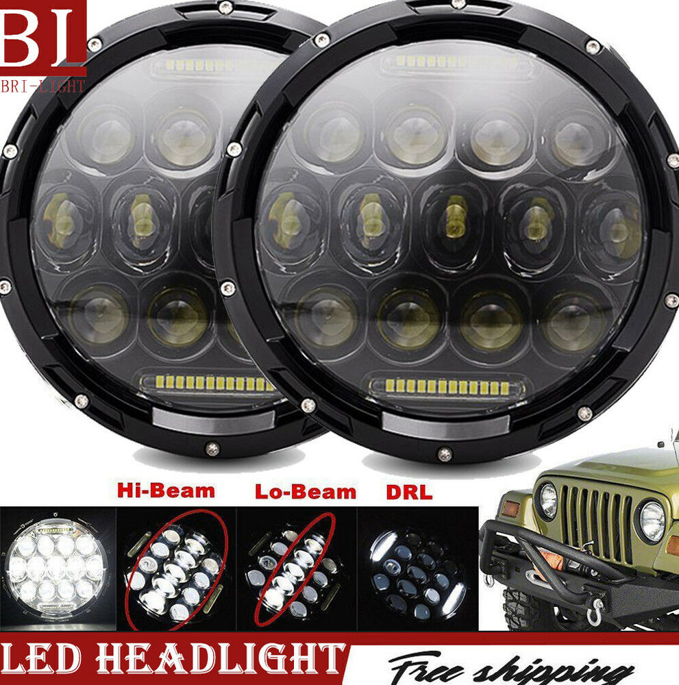 Tractor With Headlights : Pair cree quot round led headlight chrome truck tractor for