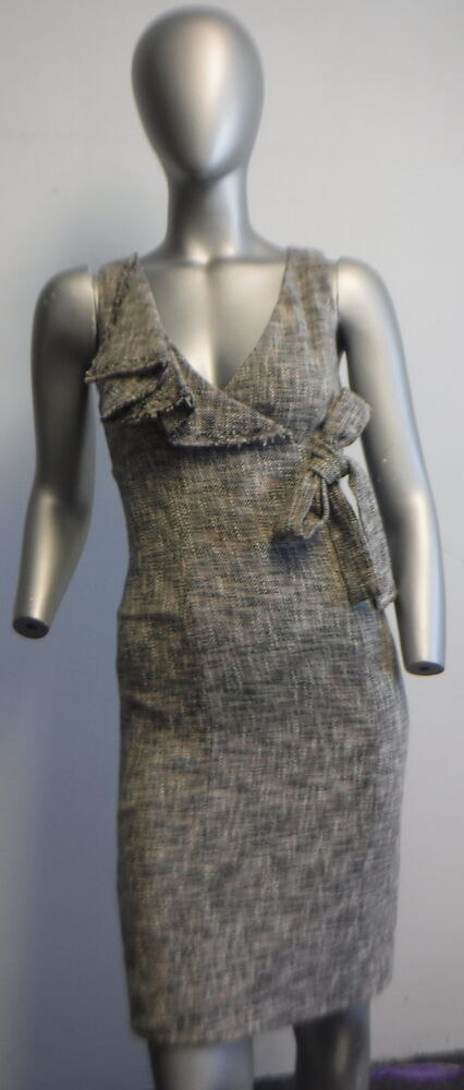 Nwt 450 Red Valentino Greypink And Black Tweed Sheath Dress With