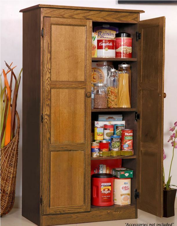 Storage Cabinet For Kitchen Country Cupboard Pantry Oak Home Office Filing Food Ebay