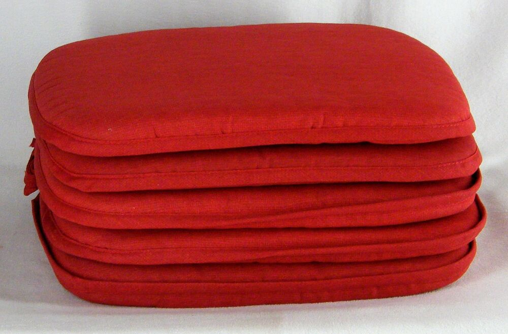 Set Of 4 Country Barn Red Burgundy Kitchen Chair Pads Seat Cushions With Ties Ebay