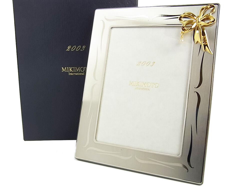 Auth MIKIMOTO International Pearl Ribbon Picture Frame Stand UNUSED ...