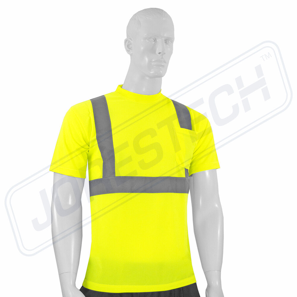 Hi Vis T Shirt Ansi Class Ii Reflective Safety Lime Short Sleeve