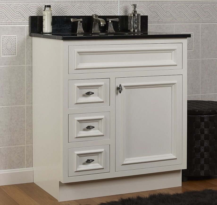 Jsi danbury white bathroom 30 w vanity base solid wood single door 3 lh drawers ebay Solid wood bathroom vanities cabinets