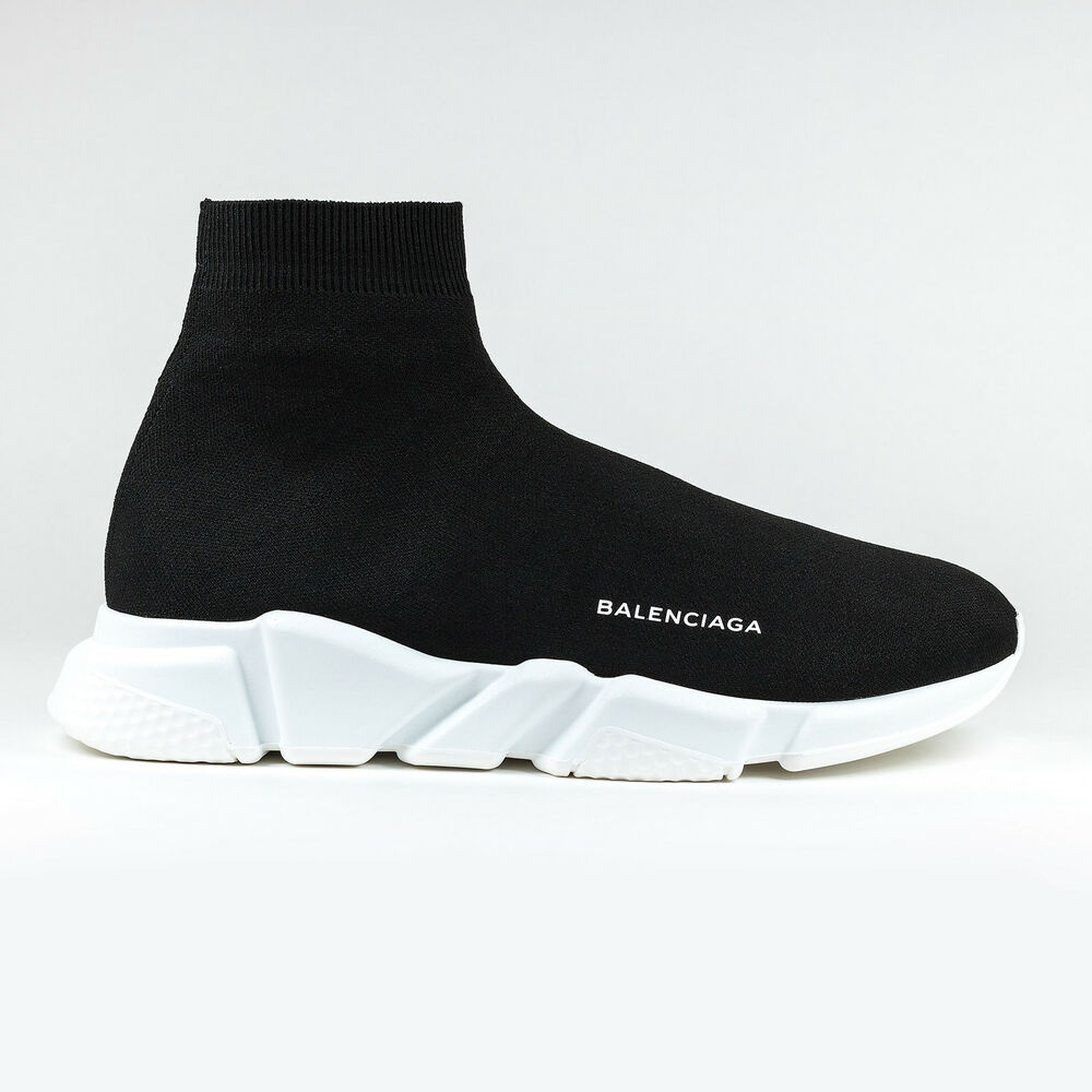 100 auth new unisex balenciaga knit speed sock black trainer sneaker runner ebay. Black Bedroom Furniture Sets. Home Design Ideas