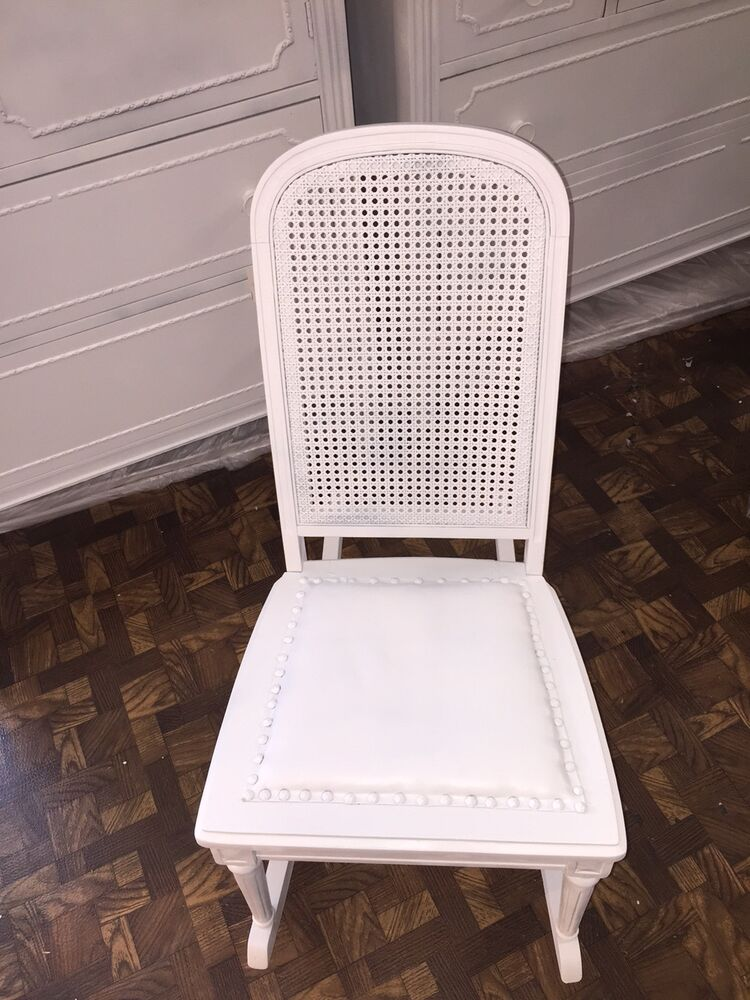 vintage shabby chic rocking chair with a cane back 33 high ebay. Black Bedroom Furniture Sets. Home Design Ideas