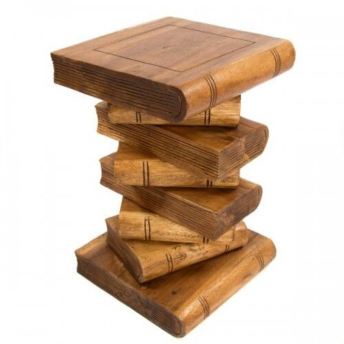 large stacked book side table hand carved acacia wood lamp table plant. Black Bedroom Furniture Sets. Home Design Ideas
