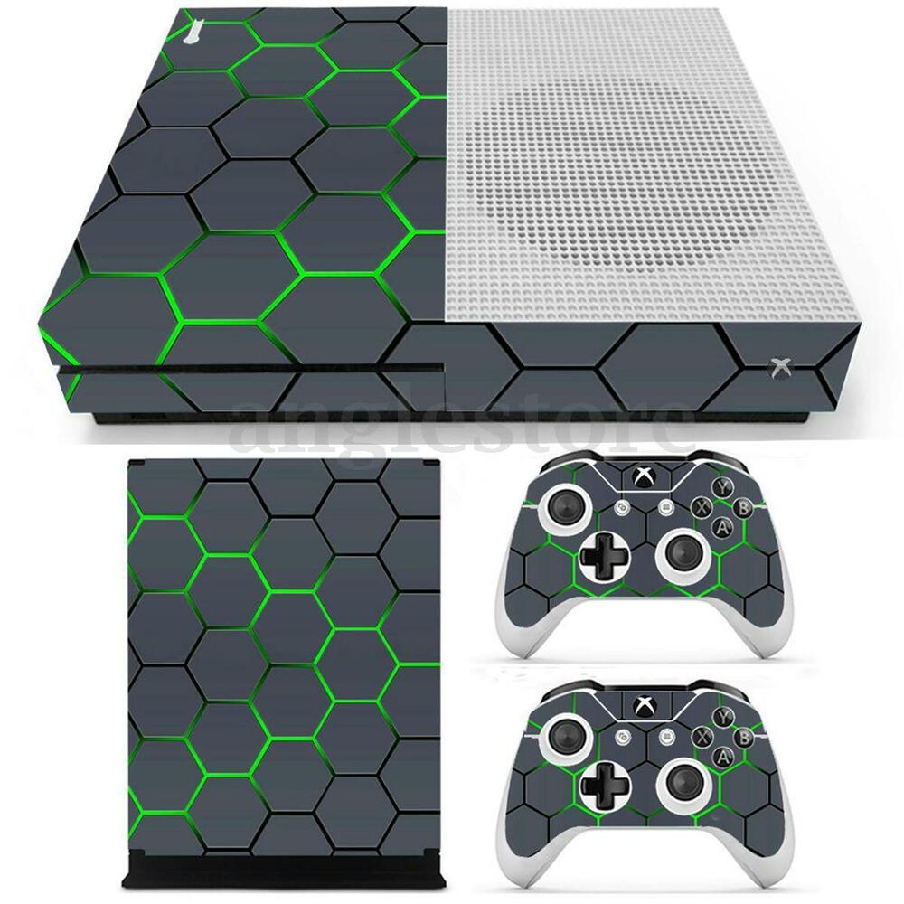 green grid vinyl decal skin stickers cover for xbox one s console 2 controllers ebay. Black Bedroom Furniture Sets. Home Design Ideas