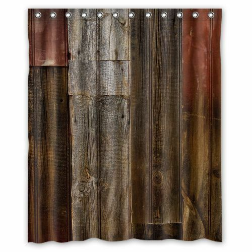 3D Old Wood Rustic Fabric Bath Shower Curtain Bathroom