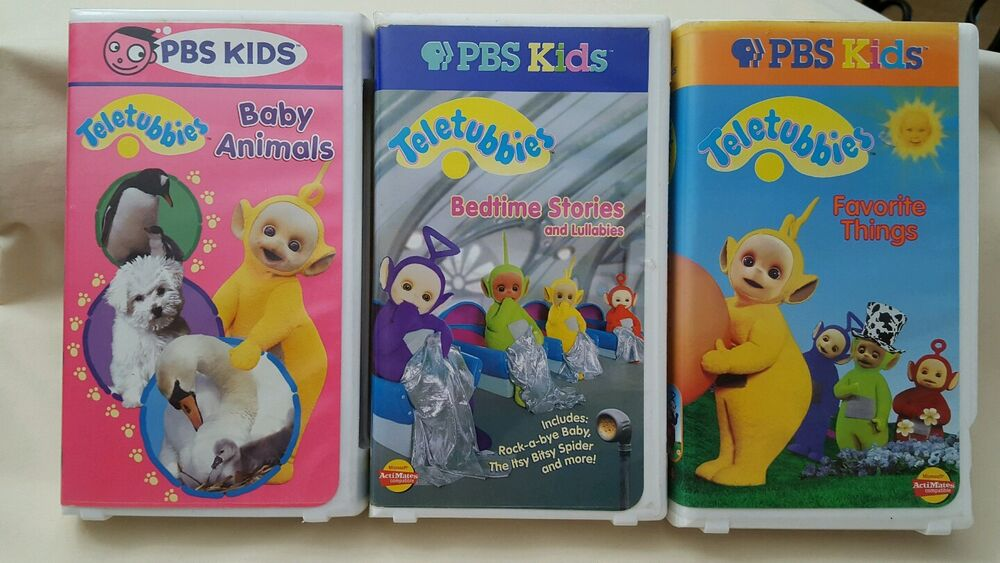 3 PBS Kids TELETUBBIES VHS Tapes Baby Animals/Favorite