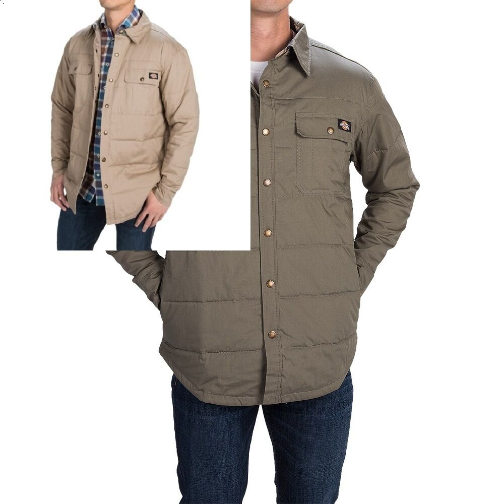 Mens shirt jackets quilted dickies big tall 2 colors new for Mens xxl tall dress shirts