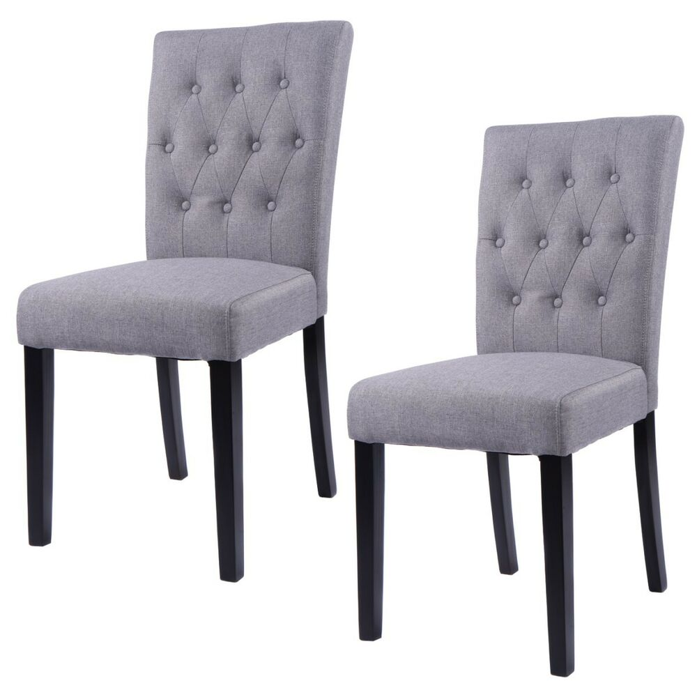 Dining Room Chairs Fabric: Set Of 2 Fabric Dining Chair Armless Chair Home Kitchen
