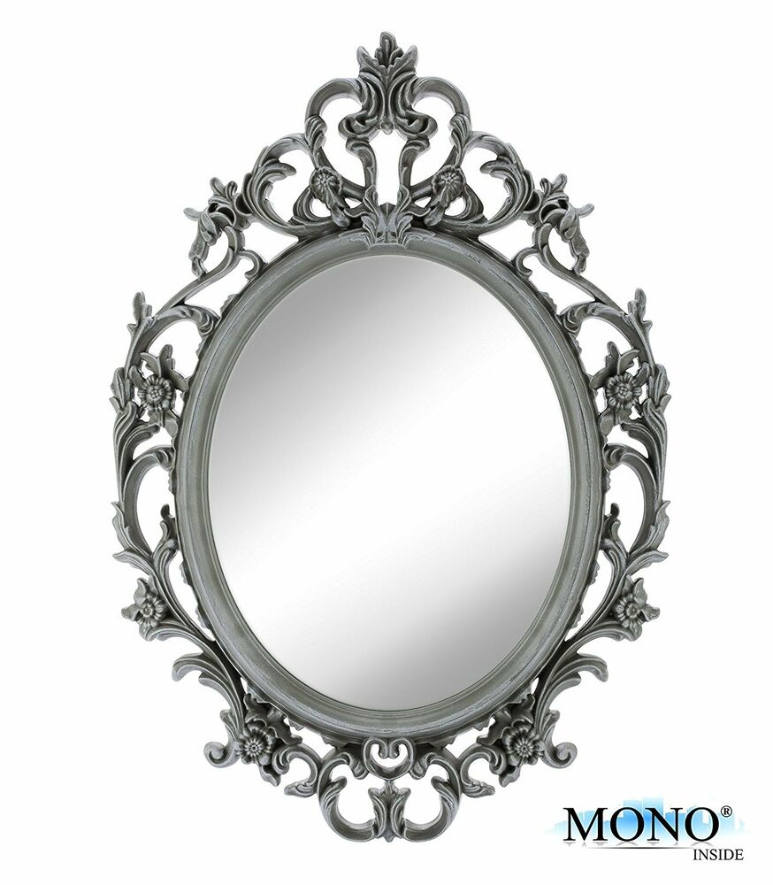 Small decorative framed oval wall mounted mirror classic for Small decorative mirrors