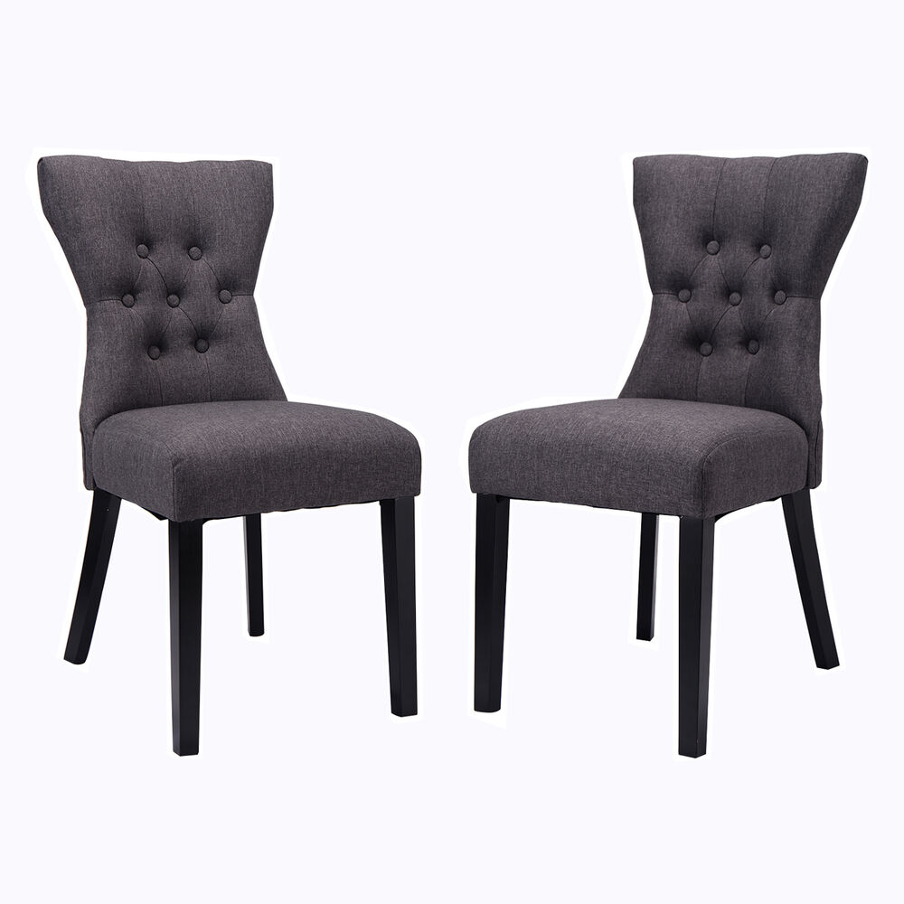 Set of 2 dining chair modern armless tufted design living room furniture gray ebay - Grey fabric dining room chairs designs ...