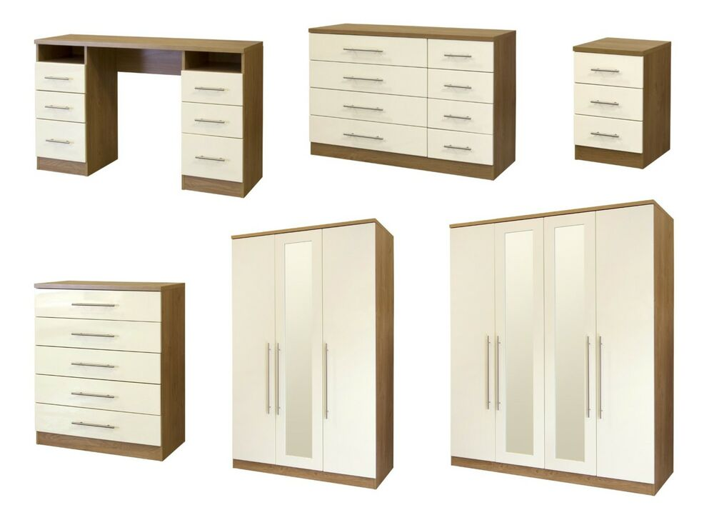 Ultra Gloss Cream And Walnut Large Modular Bedroom Furniture EBay