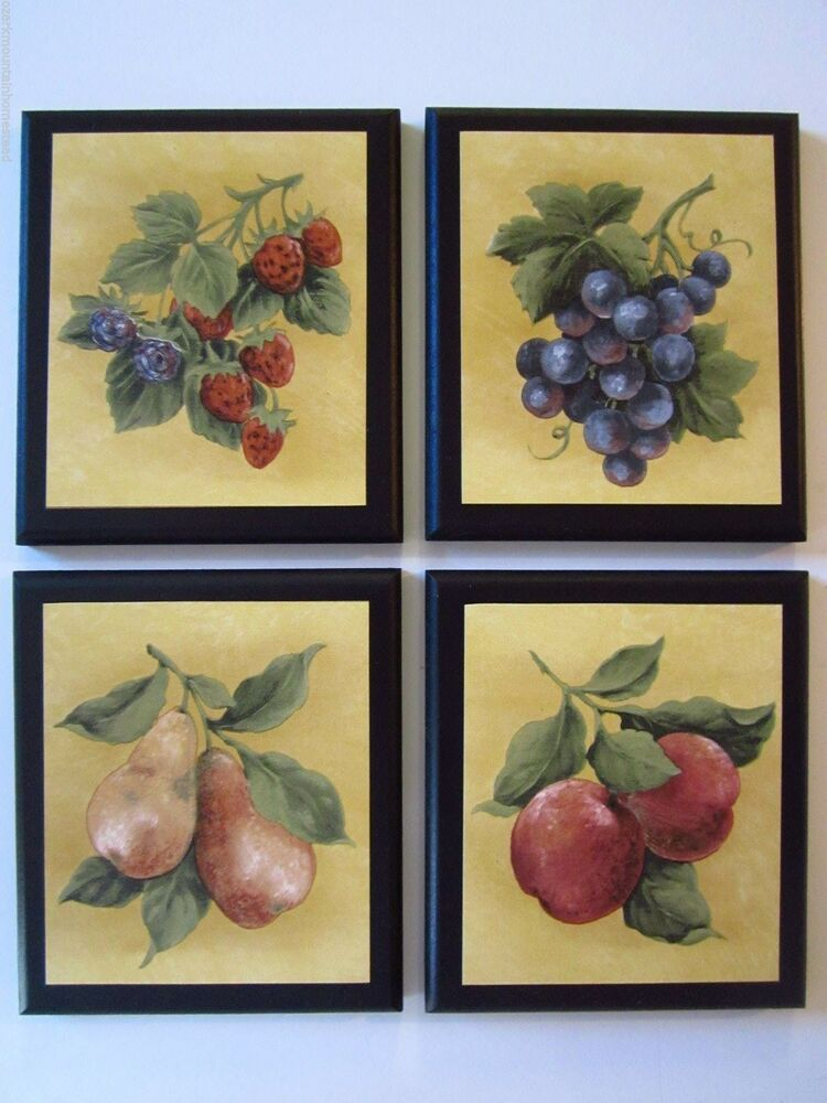 Fruit country kitchen wall decor plaques 4 signs - Kitchen curtains with fruit design ...
