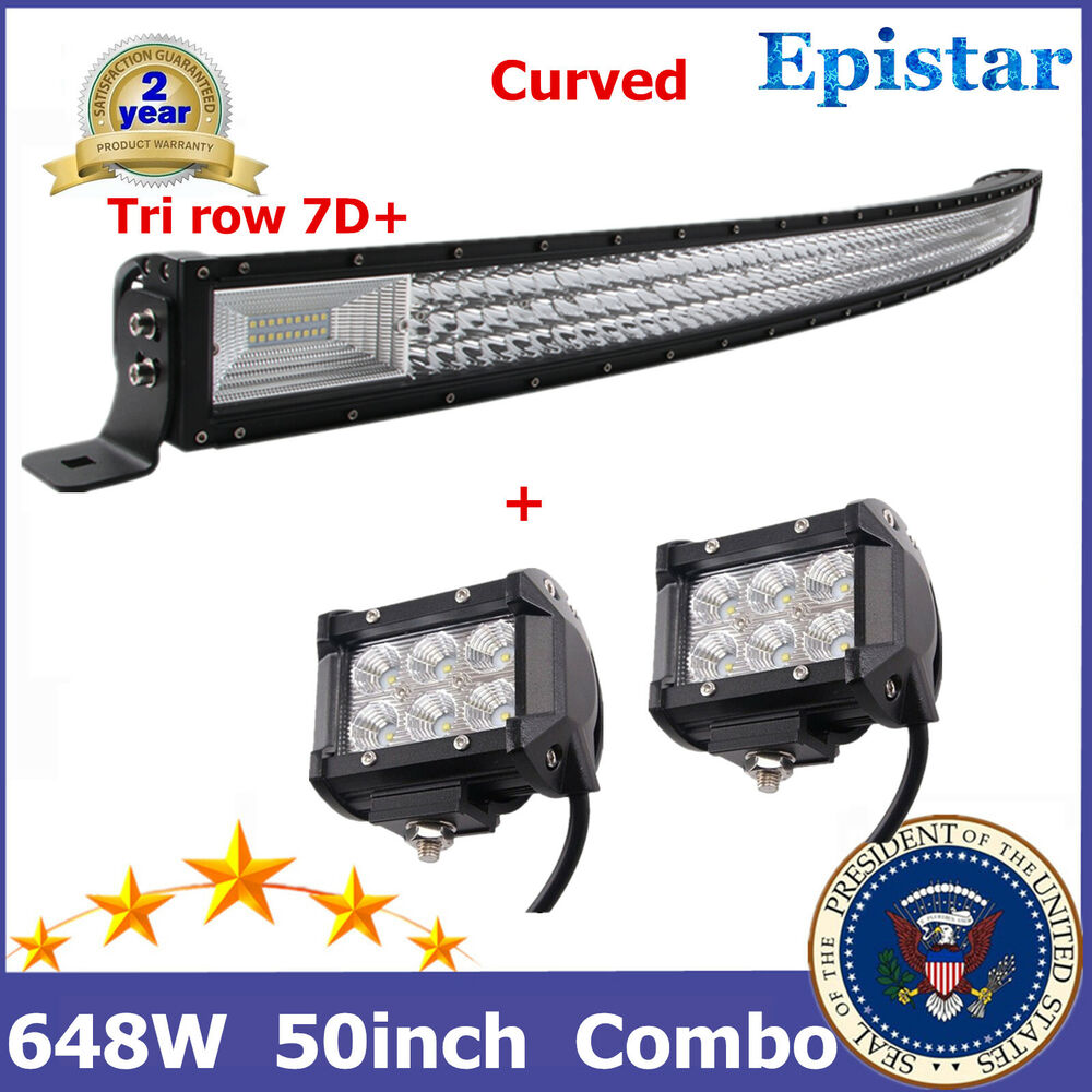 50 u0026quot  curved 288w led light bar combo 18w cree for truck