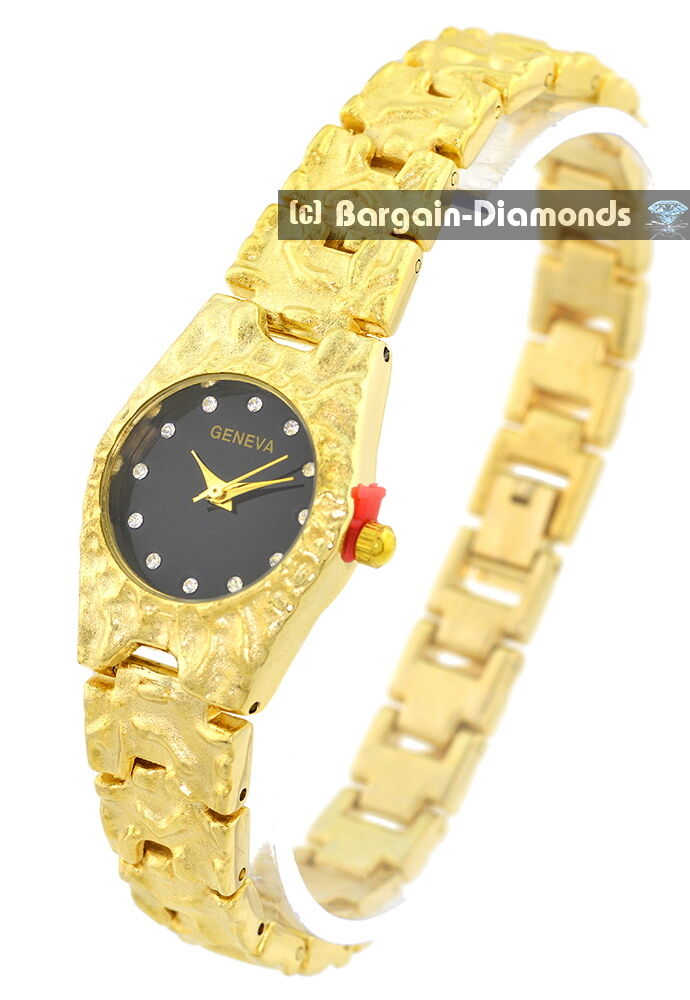 f4b6d2e08 Details about ladies gold tone nugget business success party watch CZ dial  bracelet petite