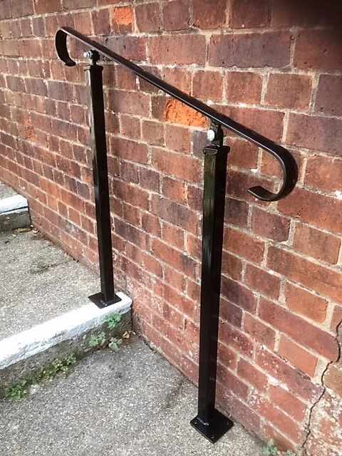 Wrought iron handrail garden steps metal exterior railing - Exterior wrought iron handrails for steps ...