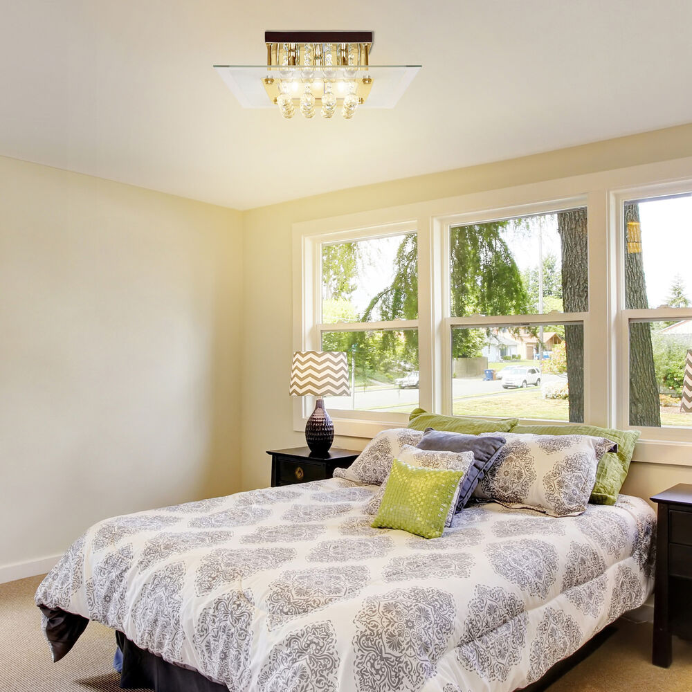 HOMCOM Modern Square Ceiling Chandelier Crystal Light Lamp