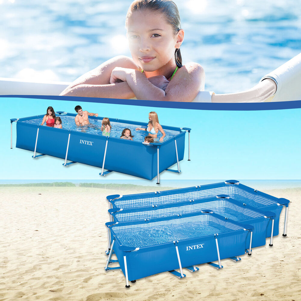 intex family schwimmbad swimming pool familienpool schwimmbecken rechteck frame ebay. Black Bedroom Furniture Sets. Home Design Ideas