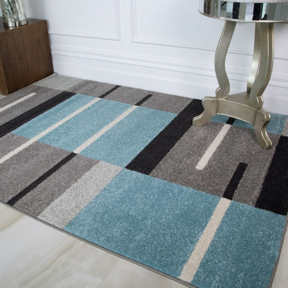 Teal Blue Grey Black White Patchwork Squares Modern Design Living ...