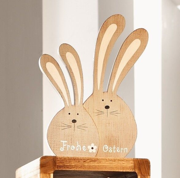 osterhase deko figuren ostern holz hasen landhaus spruch frohe ostern osterdeko ebay. Black Bedroom Furniture Sets. Home Design Ideas