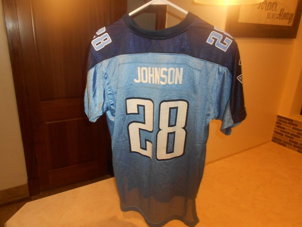 34248f2c6 PRE-OWNED NFL TENNESSEE TITANS CHRIS JOHNSON  28 REEBOK JERSEY YOUTH SIZE  XL