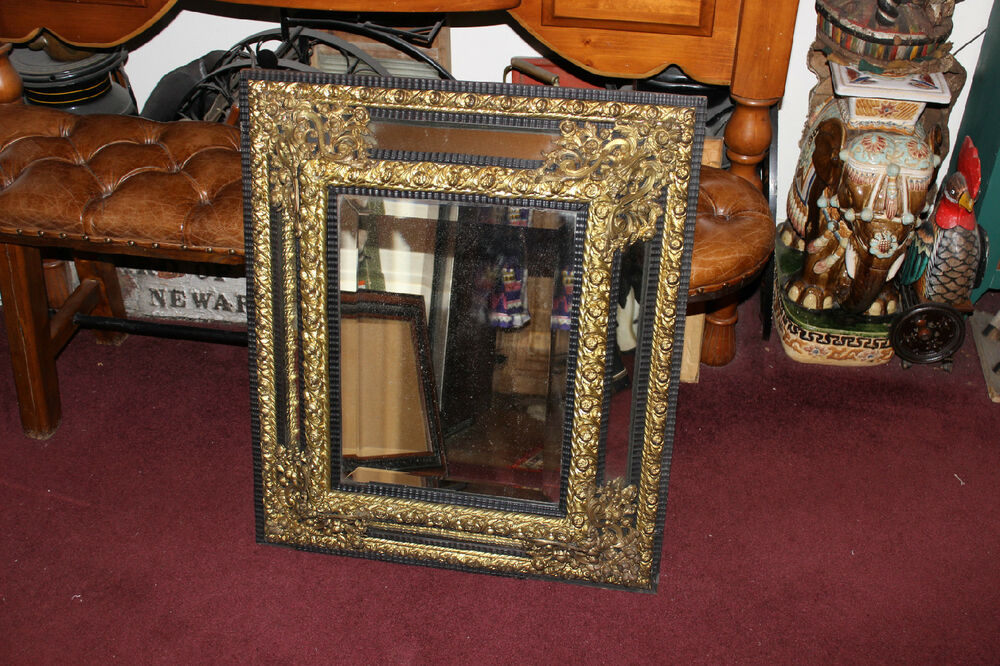 Antique Victorian Gilded Brass Floral Metal & Wood Wall