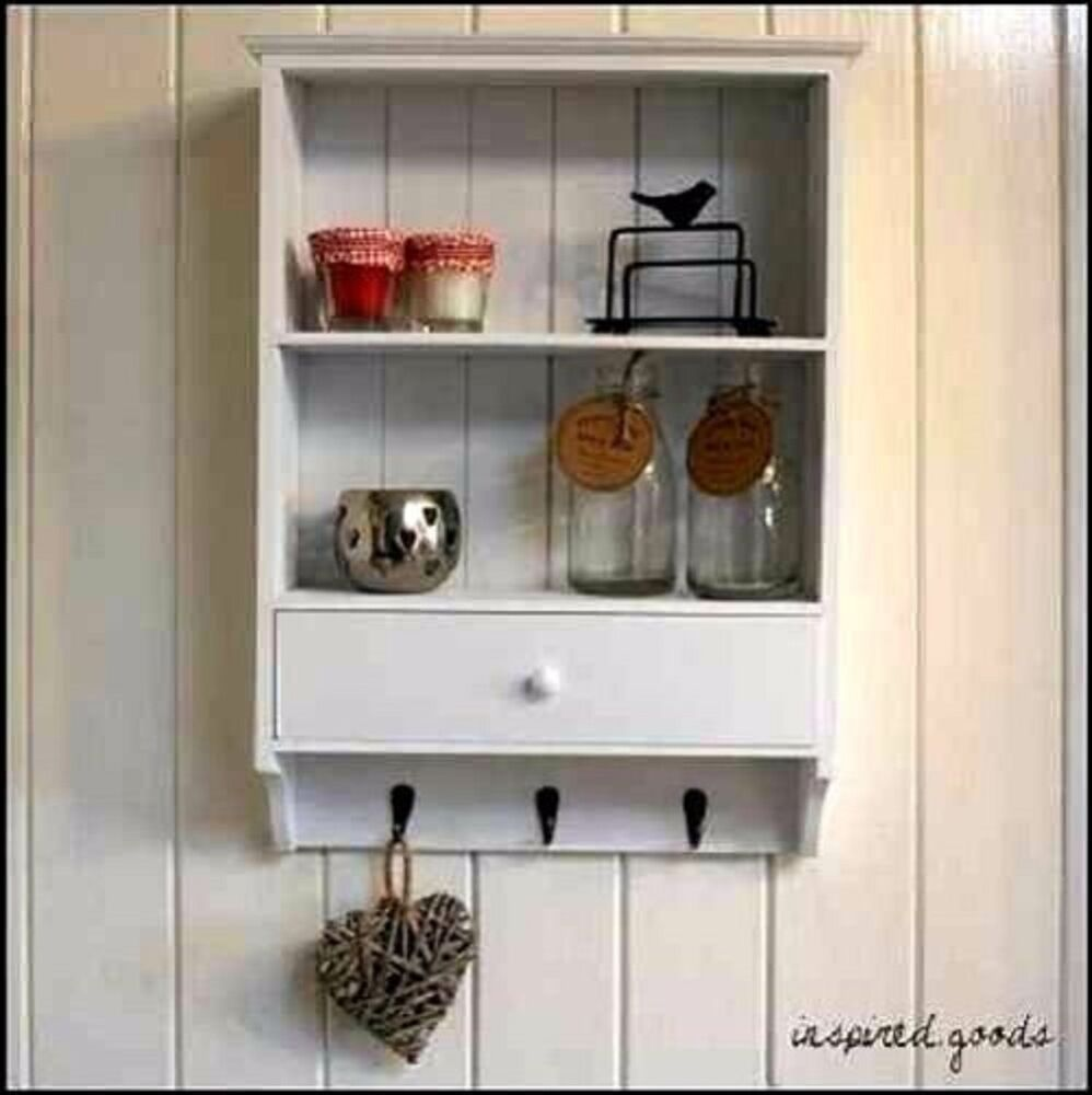 shabby chic wooden vintage shelf unit with drawer 3 key hooks wall storage white ebay. Black Bedroom Furniture Sets. Home Design Ideas