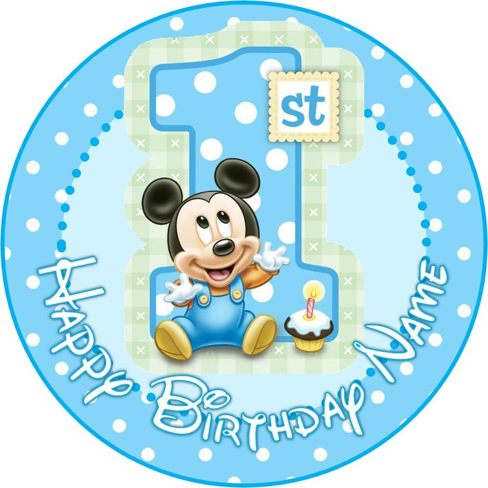 Creative Converting 1st Birthday Boy Cake Topper Blue: EDIBLE Baby Mickey Mouse Cake Topper 1st Birthday Wafer
