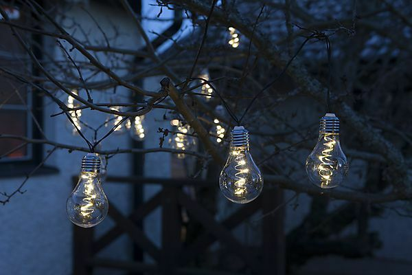 10 solar powered hanging string light bulbs garden fence for How to hang string lights on trees