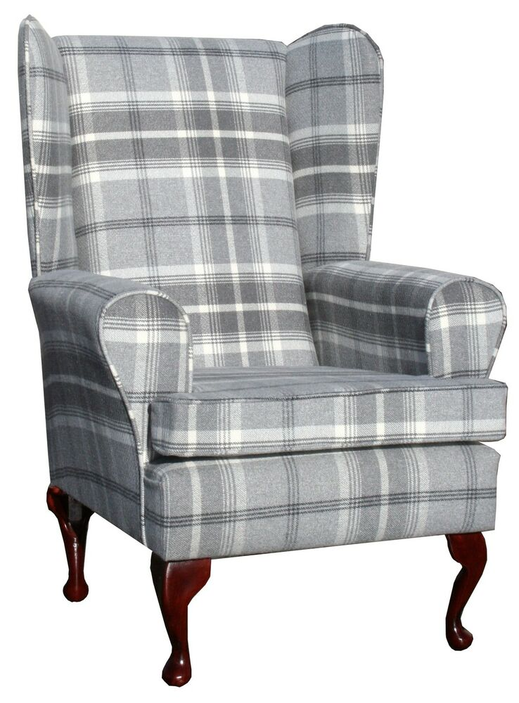 Fireside Wing Back Queen Anne Chair Superior Luxury Grey