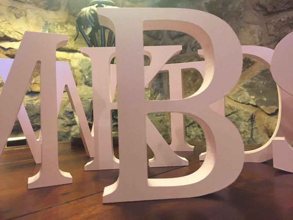 Baby pink free standing 13cm large wooden letters and for Large freestanding wooden letters