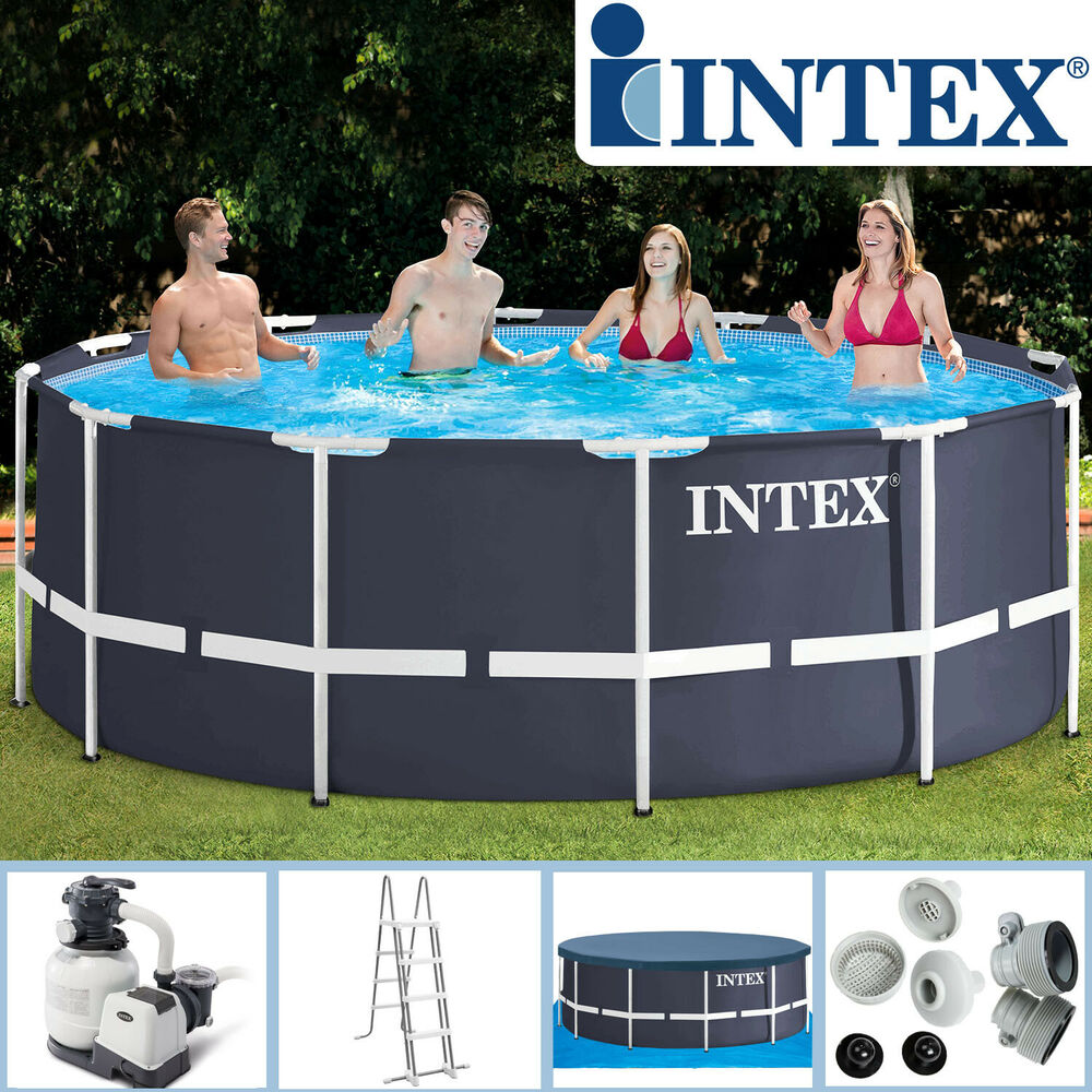 Intex 366x122 komplettset swimming pool schwimmbad frame metal stahlwand ebay - Swimming pool stahlwand ...