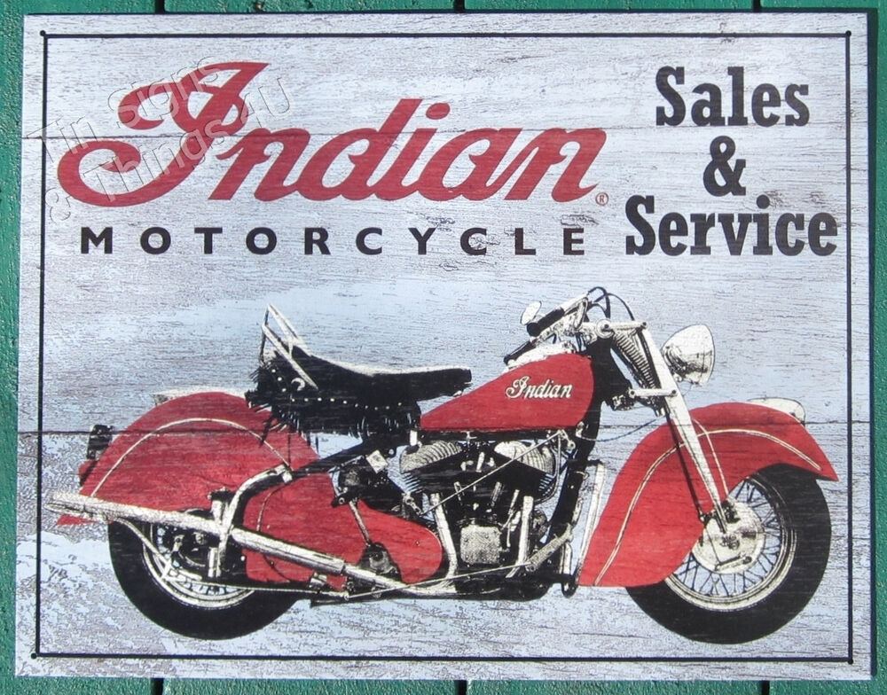 Indian Motorcycle Quot Wooden Blue Quot Metal Tin Sign Vtg Garage Bar Wall Decor Ad 1931 Ebay