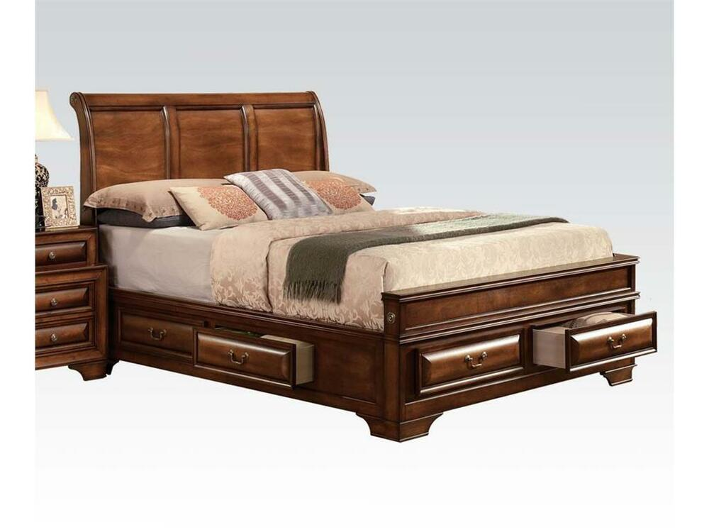 1pc eastern king size storage bed brown cherry konane - King size sleigh bed bedroom set ...