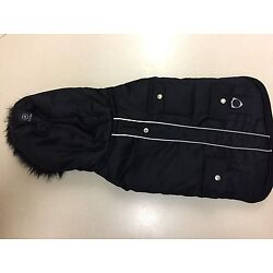 Silver Paw Dog Vest with Hood, Fur Trim and Velcro Closure, Large, Black