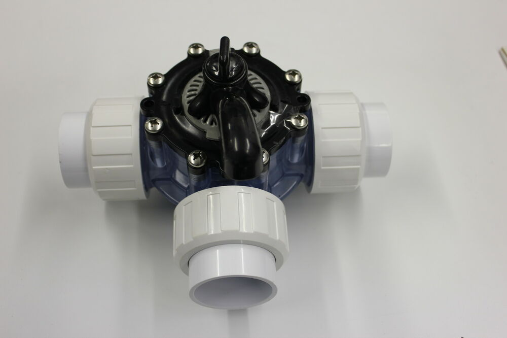 Swimming Pool 3 Way Pvc Diverter Valve With 1 5 Unions