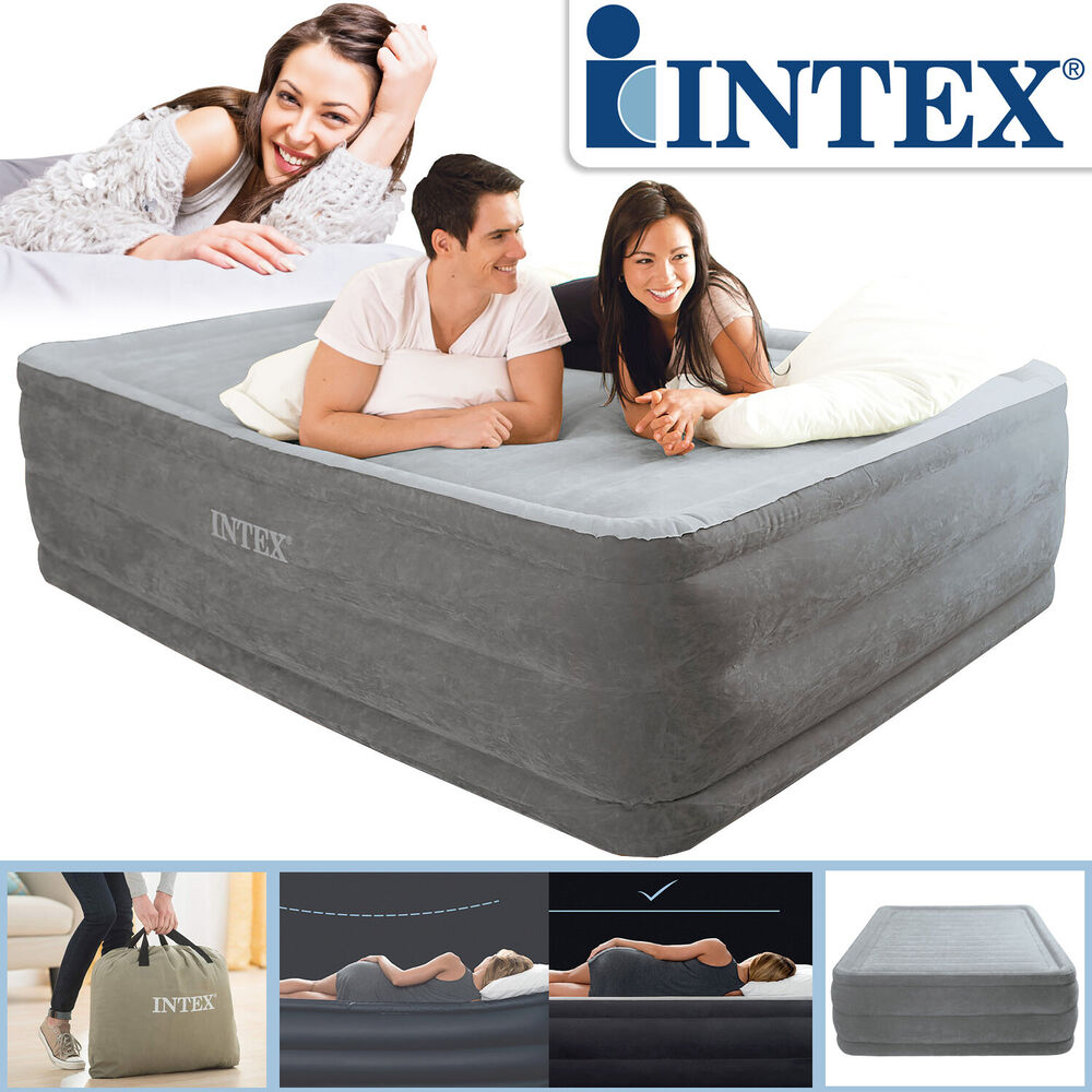 intex 203x152x56 cm luftbett mit pumpe g stebett bett matratze luftmatratze neu ebay. Black Bedroom Furniture Sets. Home Design Ideas