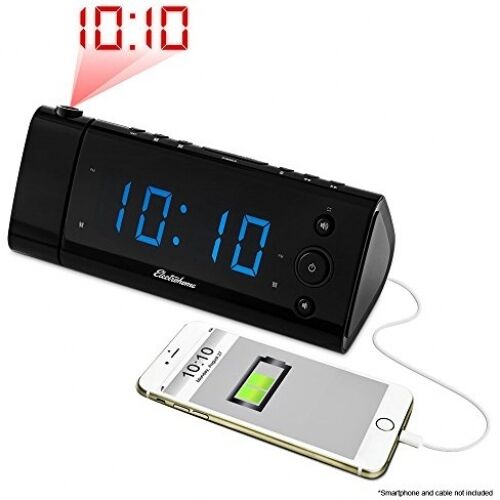 electrohome usb charging alarm clock radio with time projection fm radio dual ebay. Black Bedroom Furniture Sets. Home Design Ideas