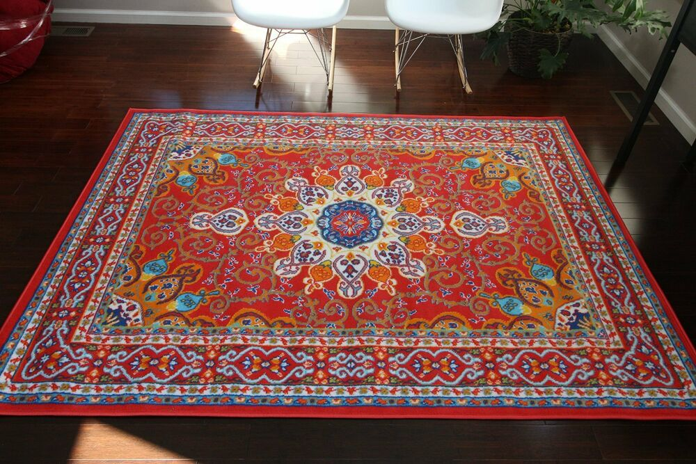 9x12 Isfahan Red Orange Blue Oriental Modern Persian