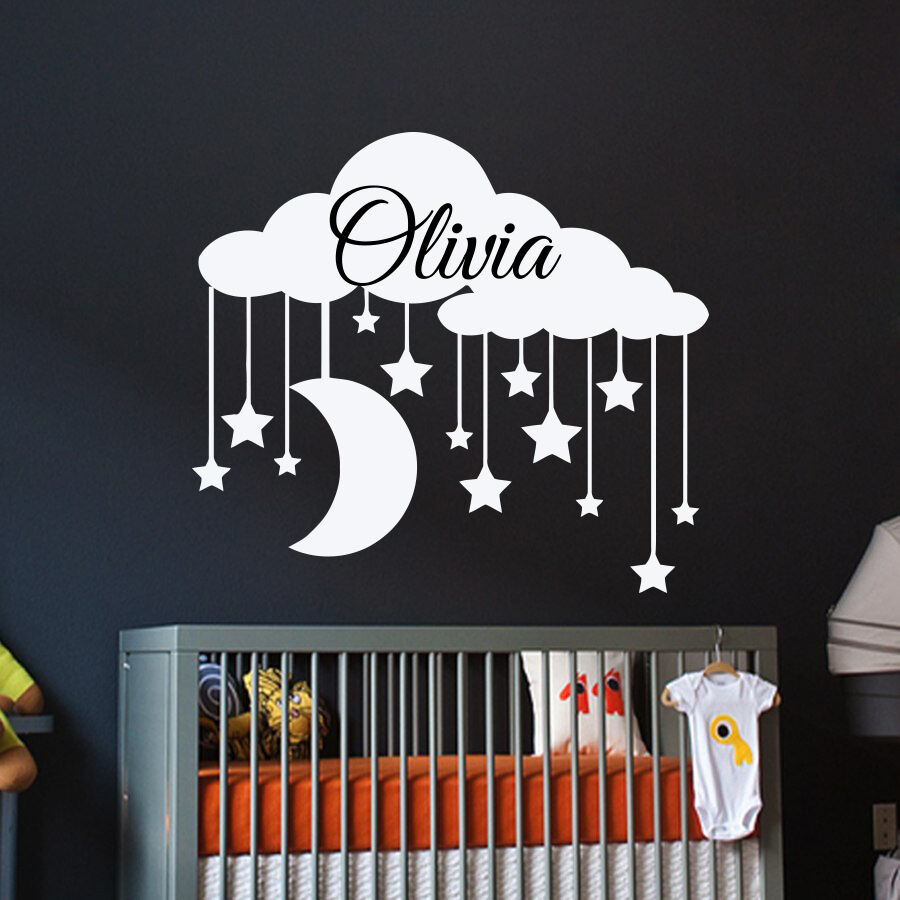 Personalized name wall decals clouds decal girl vinyl for Custom wall mural decals