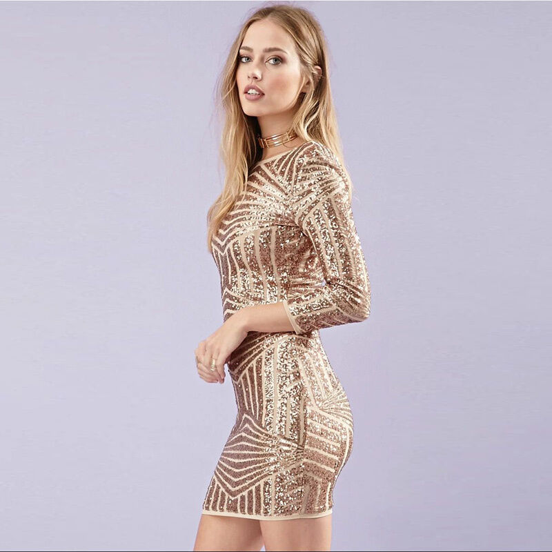 Birthday Dress For Womens: Women's Lady Cocktail Dress Long Sleeve Gold Sequin