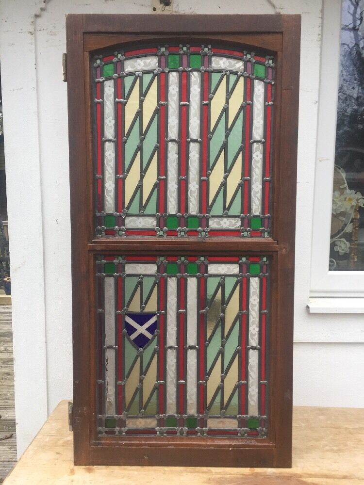 STAINED GLASS FRONT DOOR SIDE PANEL ART DECO PERIOD WINDOW ...