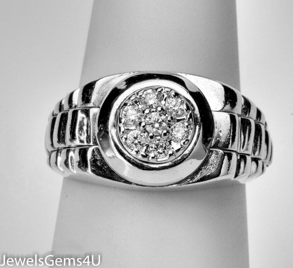 s rolex 14k white gold cluster ring ebay